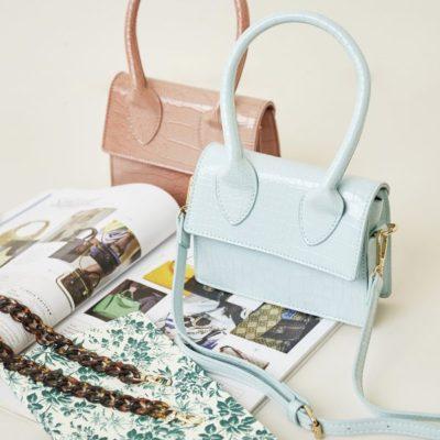 Tas Lolita Croco mint groen groene roze kleine dames handtasjes look a like tasje trendy tassen online kopen fashion bags
