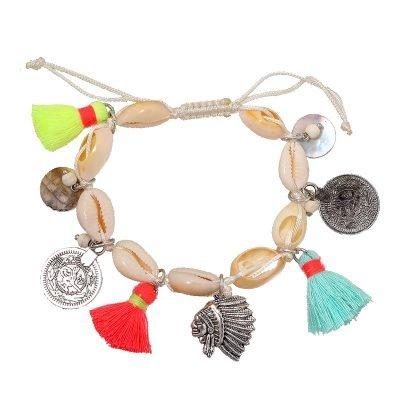 Boho Armband shell & coins dames armbanden van stenen schelpen neon kwastjes muntjes beach bracelets