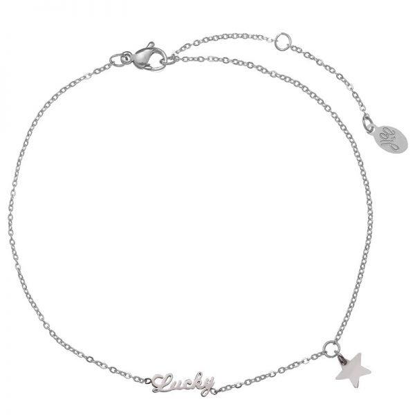 Enkelbandje-Lucky star -zilver-zilveren- rvs roestvrijstalen enkelbandjes-bedel-dames-enkelbandjes-400x400