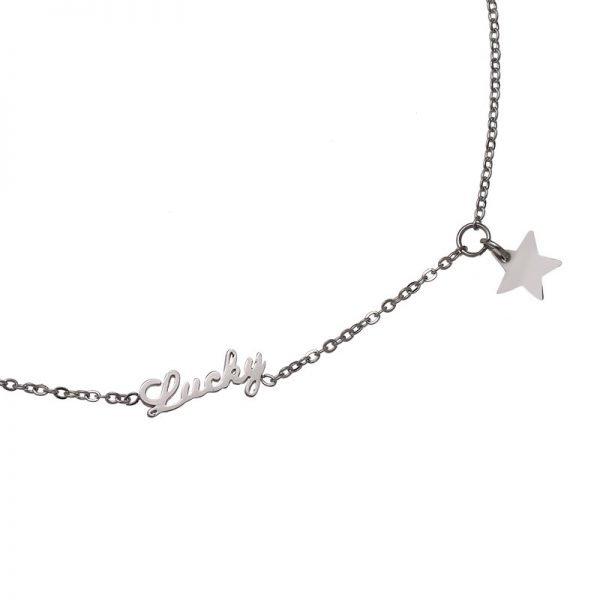Enkelbandje-Lucky star -zilver-zilveren- rvs roestvrijstalen enkelbandjes-bedel-dames-enkelbandjes detail