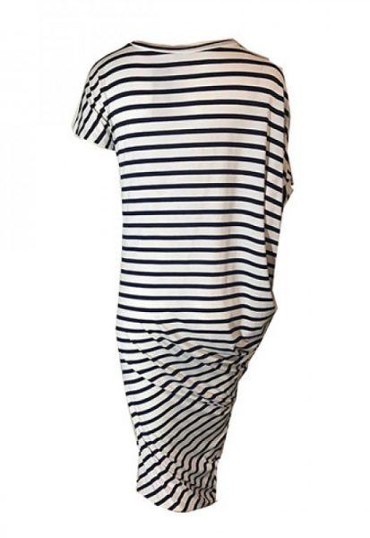 Jurk strepen asymmetrisch blauw wit navy zomer jurken online dames kleding jurken tshirt dress online bestellen kopen achteren