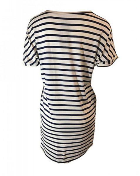 Jurk strepen blauw wit met zakken navy zomer jurken online dames kleding jurken tshirt dress online bestellen kopen achterkant