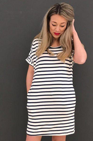 Jurk strepen blauw wit met zakken navy zomer jurken online dames kleding jurken tshirt dress online bestellen kopen stylisch