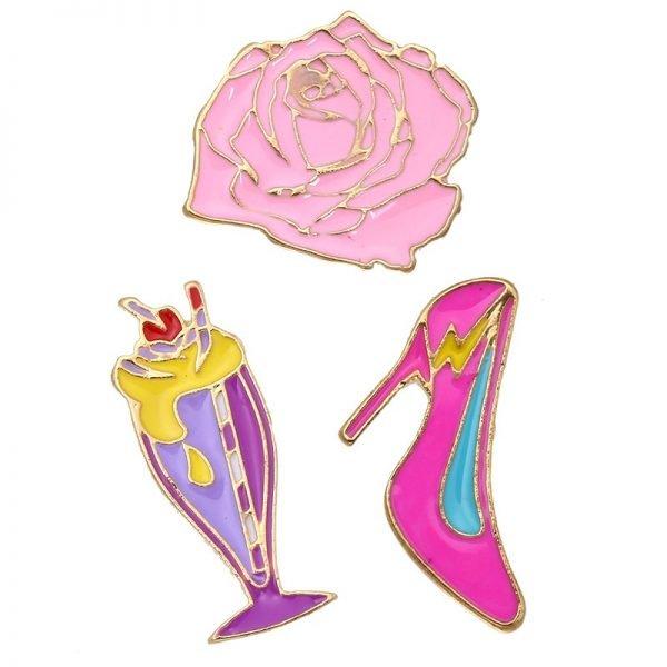Pins Stylish hippe hakken roos speldjes lippen broches voor kleding kledingpins kleren versieren
