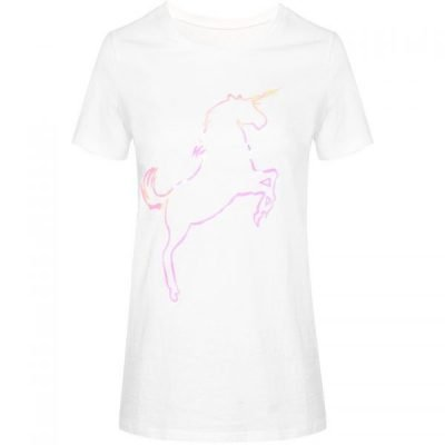 T shirt Pink Unicorn wit witte dames tshirt met plaatje fashion festival truitje tshirts met print online T-Shirt Pink Unicorn