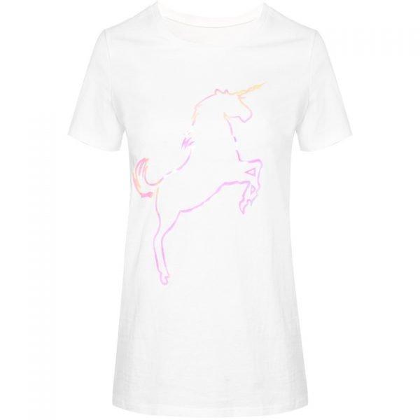 T shirt Pink Unicorn wit witte dames tshirt met plaatje fashion festival truitje tshirts met print online T-Shirt Pink Unicorn