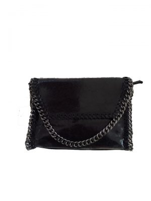Leren-Schouder-tas-Chains-zwart zwarte black dames-leder-tas-zilver-kettingen-rondom-ketting-hengsel-musthave-fashion-goedkoop-look-a-like-bags luxe
