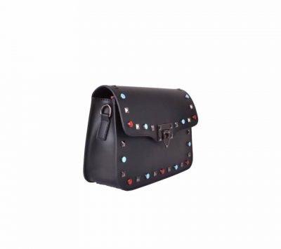 Leren-Tas-rockstuds-XL zwart zwarte leren-tassen-gekleurde-studs-gouden-details-valentino-look-a-like-guitar strap -dames-tas giliano zijkant