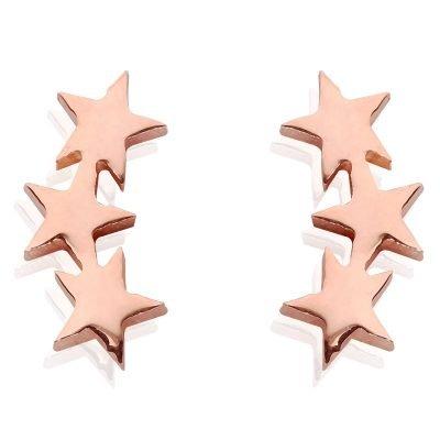 Oorbellen-star-line-oorknopjes-rose gouden 3 sterren oorbel -musthave-accessoires-sieraden-online-kopen