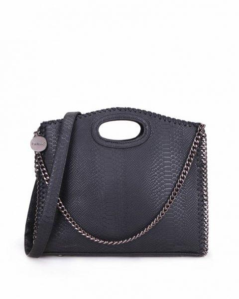 Handtas Croco-Stella-Chains-zwart zwarte-croco-kroko-print-tas-kettingen-musthave-it-bag-look-a-like-tas-met-kettingen-online-kopen-goedkoop-cheap werktassen laptoptas