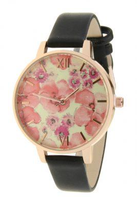 Horloge Poppy flowers zwart zwarte band klokwerk dames horloges met roze bloemen kast musthave ernest horloges accessoiresjpg