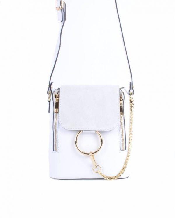 Leren-Tas-Faith-wit witte -tassen grote gouden ring en ketting -leder- suede flap goud-beslag-dames-look-a-like-tassen-giuliano-online-luxe-italiaans-leder--