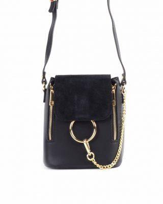 Leren-Tas-Faith-zwart zwarte-tassen grote gouden ring en ketting -leder- suede flap goud-beslag-dames-look-a-like-tassen-giuliano-online-luxe-italiaans-leder--