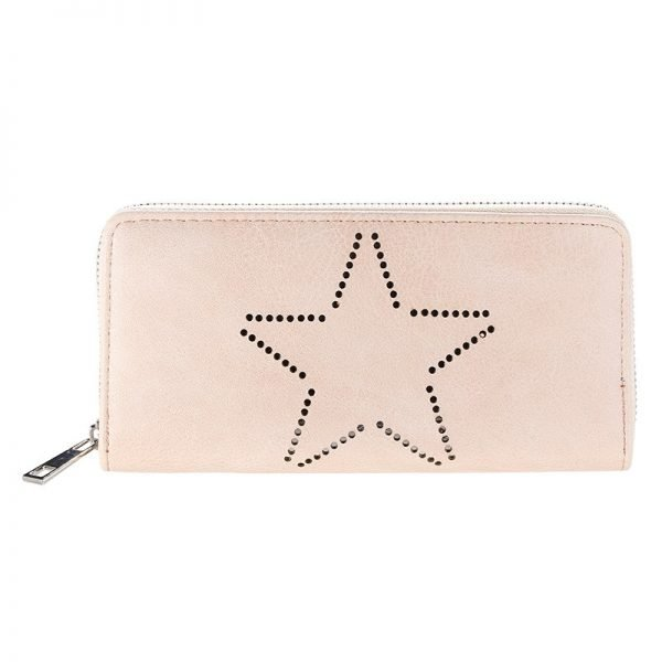 Portemonnee-Star-beige nude taupe-dames-portemonees grote ster print steentjes-wallet-online-bestellen-kopen-musthave-accessoires