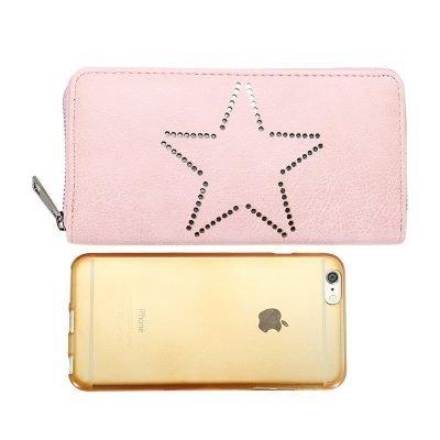 Portemonnee-Star-roze pink -dames-portemonees grote ster print steentjes-wallet-online-bestellen-kopen-musthave-accessoires online