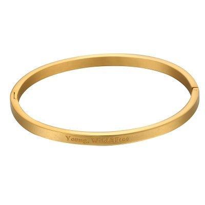 RVS Armband Young wild free goud gouden dunne dames armbanden met tekst sieraden accessoires online roest vrij staal