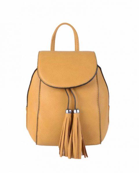 Rugtas Kwastjes geel gele kunstleder rugzak zilveren ritsen kleine handige rugtassen rugzakken backpack online