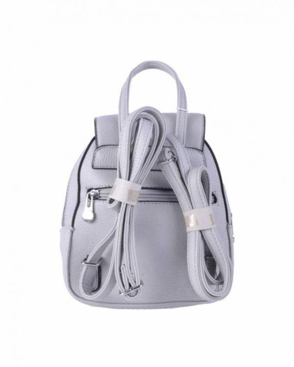 Rugtas Kwastjes grijs grijze zilver kunstleder rugzak zilveren ritsen kleine handige rugtassen rugzakken backpack online achterkant