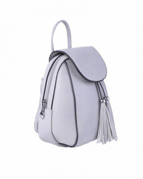 Rugtas Kwastjes grijs grijze zilver kunstleder rugzak zilveren ritsen kleine handige rugtassen rugzakken backpack online zijkant