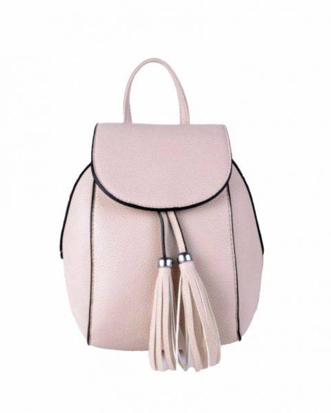Rugtas Kwastjes licht roze pink kunstleder rugzak zilveren ritsen kleine handige rugtassen rugzakken backpack online