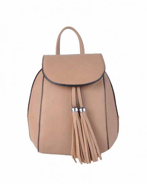 Rugtas Kwastjes taupe bruin bruine kunstleder rugzak zilveren ritsen kleine handige rugtassen rugzakken backpack online