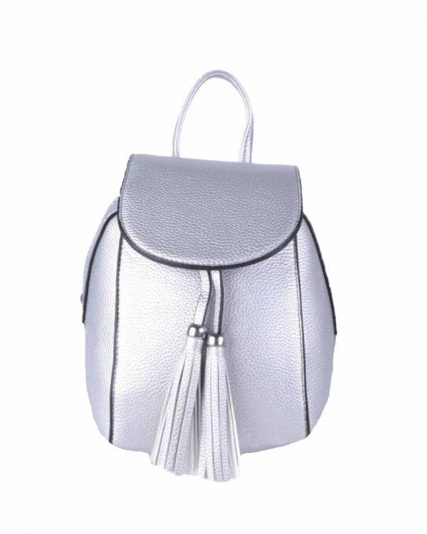 Rugtas Kwastjes zilver zilveren kunstleder rugzak zilveren ritsen kleine handige rugtassen rugzakken backpack online