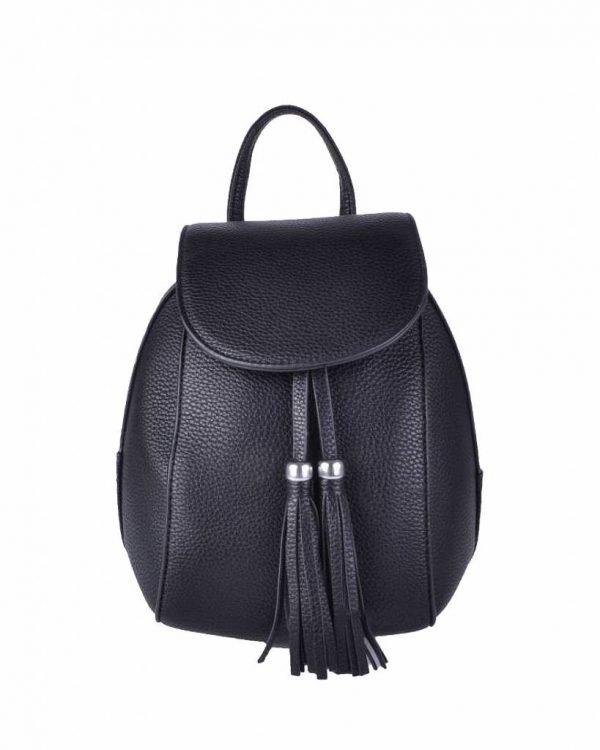 Rugtas Kwastjes zwart zwarte kunstleder rugzak zilveren ritsen kleine handige rugtassen rugzakken backpack online