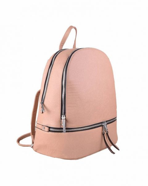 Rugtas Ritsen apricot taupe kunstleder rugzak zilveren ritsen kleine handige rugtassen rugzakken backpack online zijkant