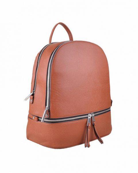 Rugtas Ritsen bruin bruine kunstleder rugzak zilveren ritsen kleine handige rugtassen rugzakken backpack online zijkant