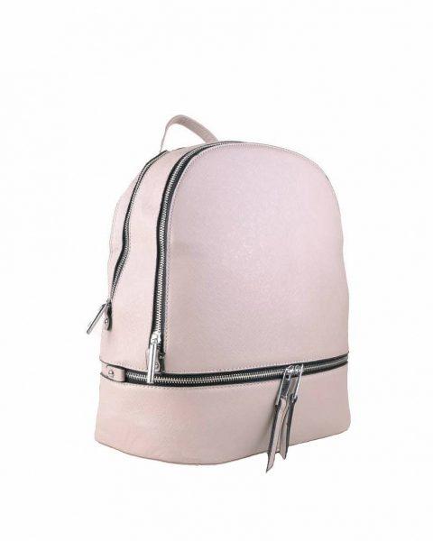 Rugtas Ritsen grijs grijze kunstleder rugzak zilveren ritsen kleine handige rugtassen rugzakken backpack online zijkantt