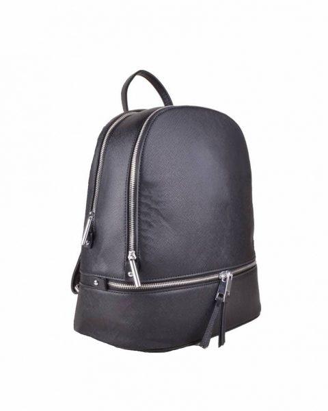 Rugtas Ritsen zwart zwarte kunstleder rugzak zilveren ritsen kleine handige rugtassen rugzakken backpack online zijkant