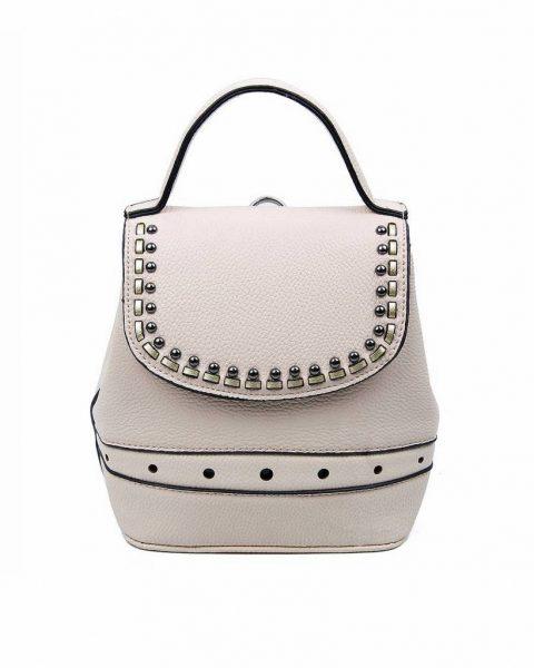 Rugtas Studs beige nude creme kunstleder rugzak zilveren studs kleine handige rugtassen rugzakken backpack online
