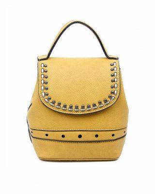 Rugtas Studs geel gele kunstleder rugzak zilveren studs kleine handige rugtassen rugzakken backpack online