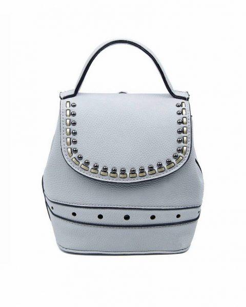 Rugtas Studs grijs grijze kunstleder rugzak zilveren studs kleine handige rugtassen rugzakken backpack online