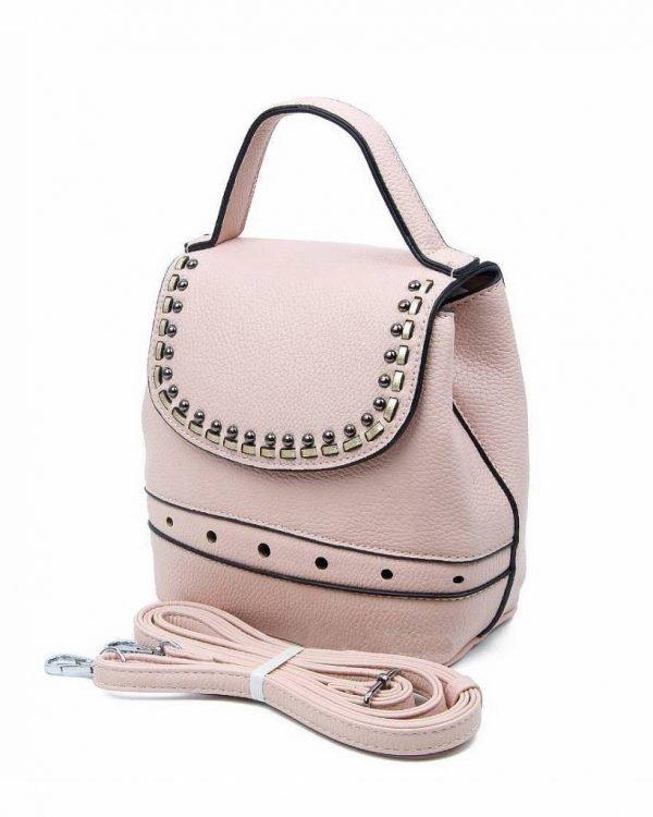 Rugtas Studs roze pink kunstleder rugzak zilveren studs kleine handige rugtassen rugzakken backpack online zijkant