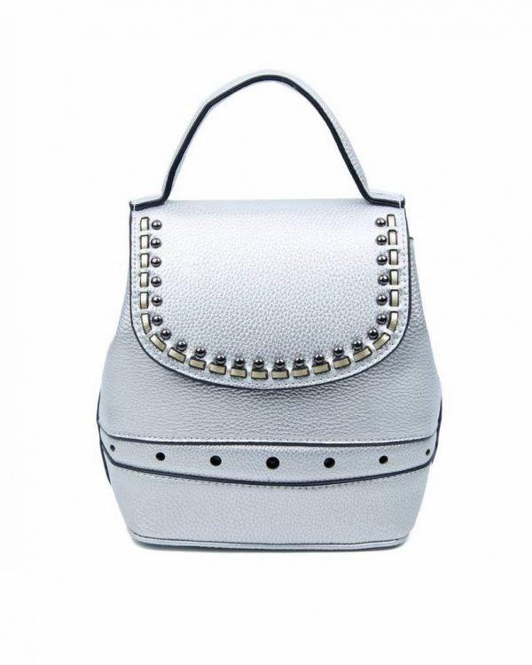 Rugtas Studs zilver zilveren kunstleder rugzak zilveren studs kleine handige rugtassen rugzakken backpack online