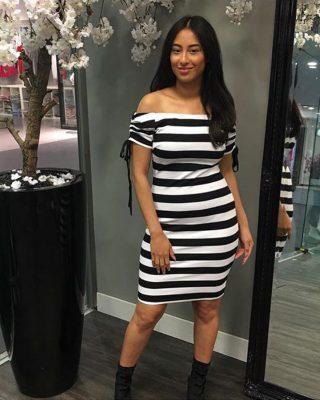 Strapless Jurk Stripes zwart zwarte wit witte gestreepte dames jurken strecht sexy dames dress modemusthaves online bestellen
