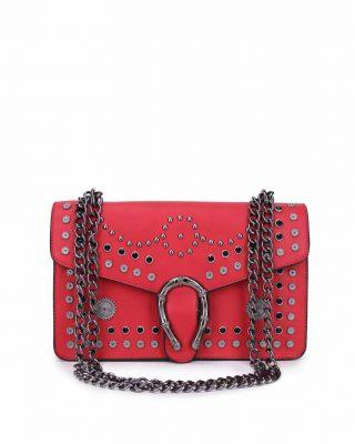 Tas Diony Studs rood rode kunstlederen dionysus tassen kettinghengsel hoefijzer look a like itbags