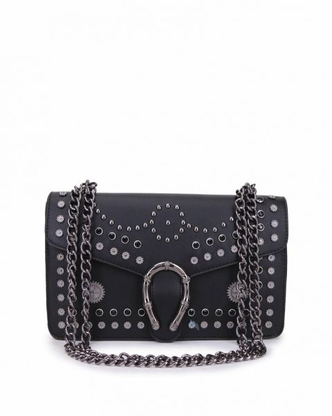 Tas Diony Studs zwart zwarte kunstlederen dionysus tassen kettinghengsel hoefijzer look a like itbags