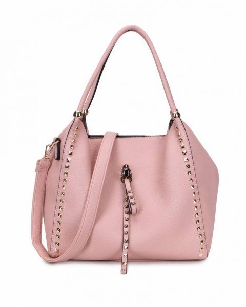 Tas Perfect Studs roze pink grote kunstleder dames tassen itbags gouden studs luxe giulino bags goedkoop