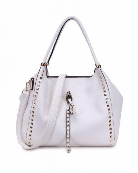 Tas Perfect Studs wit witte grote kunstleder dames tassen itbags gouden studs luxe giulino bags goedkoop