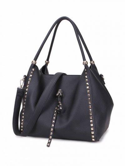 Tas Perfect Studs zwart zwarte grote kunstleder dames tassen itbags gouden studs luxe giulino bags goedkoop