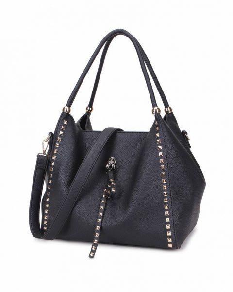 3e32ad18c33 Tas Perfect Studs zwart zwarte grote kunstleder dames tassen itbags gouden  studs luxe giulino bags goedkoop