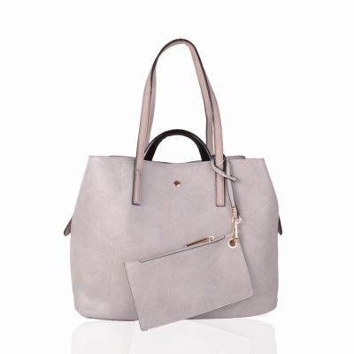 Bag in Bag Shopper Mara grijs grijze ruime shoppers met extra binnentas gouden details klassieke dames tassen kunstleder online