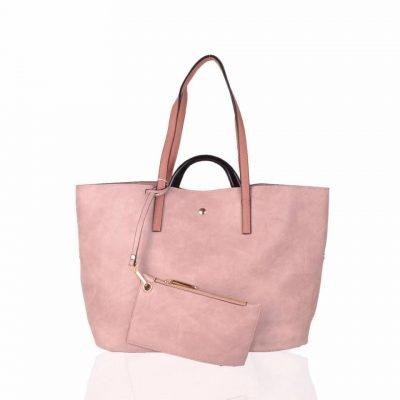 Bag in Bag Shopper Mara roze pink ruime shoppers met extra binnentas gouden details klassieke dames tassen kunstleder online