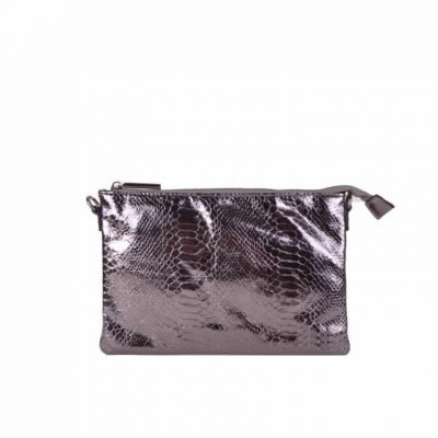 Clutch tasje snake antraciet clutches tasjes lak coating rits glans slangenprint online fashion tassen kopen