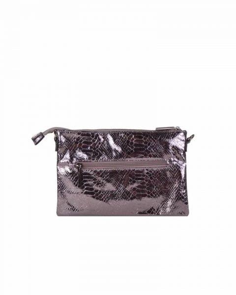 Clutch tasje snake antraciet clutches tasjes lak coating rits glans slangenprint online fashion tassen kopen achterkant