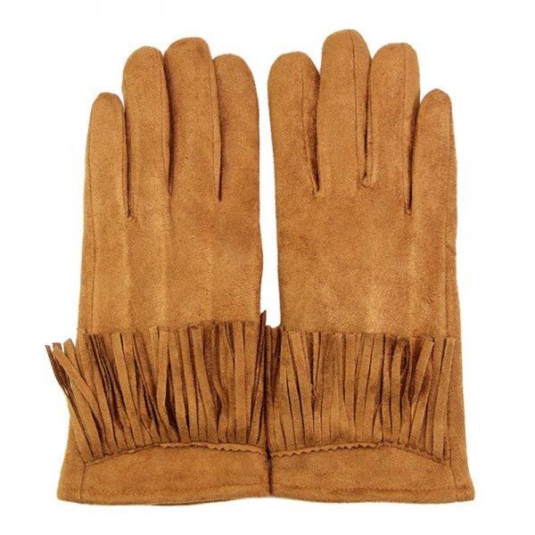 Handschoenen Fancy Fringes cognac camel dames handschoen met franjes boho cloves winter musthaves accessoires