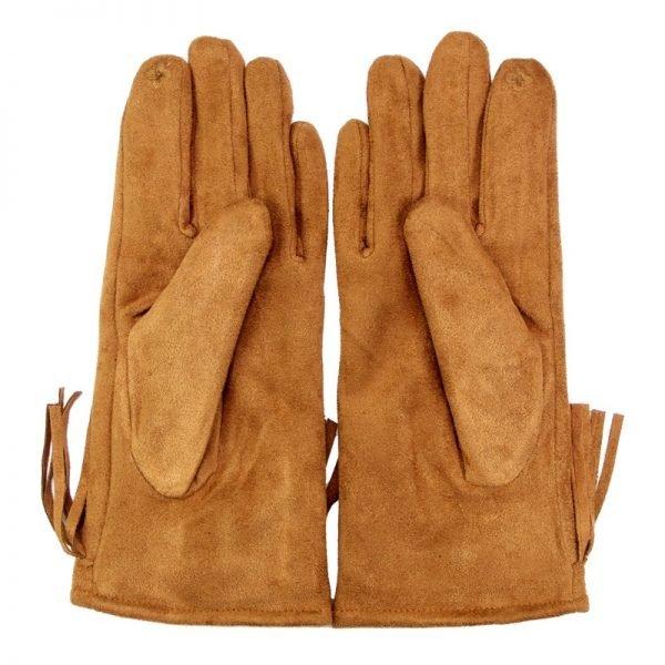 Handschoenen Fancy Fringes cognac camel dames handschoen met franjes boho cloves winter musthaves accessoires achter