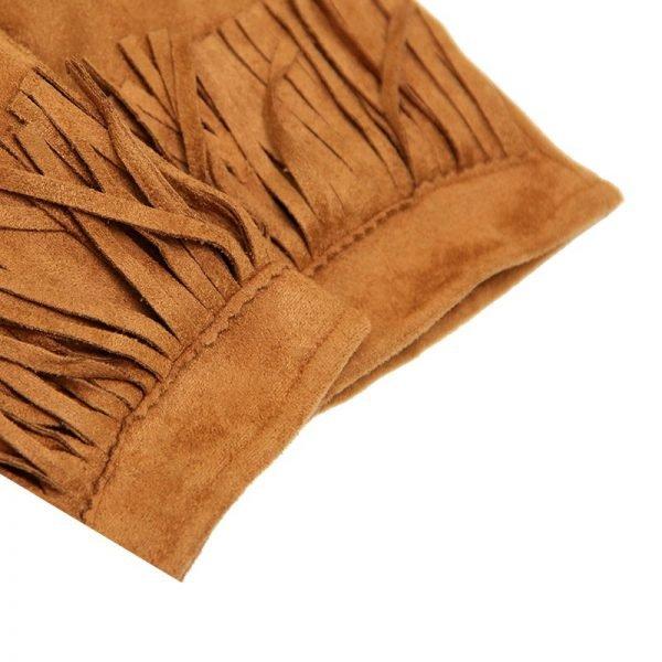 Handschoenen Fancy Fringes cognac camel dames handschoen met franjes boho cloves winter musthaves accessoires details